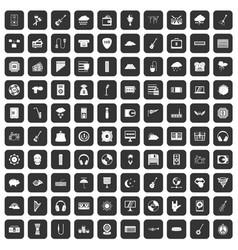 100 music festival icons set black vector