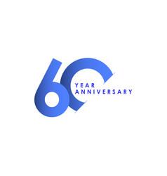 60 years anniversary celebration blue gradient vector