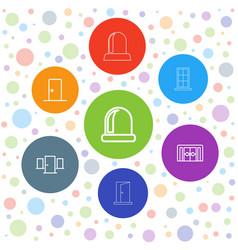 7 doorway icons vector