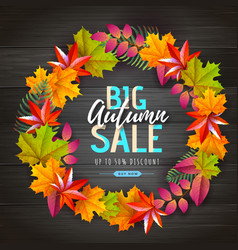 Autumn big sale typography poster with leaves vector