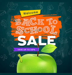 back to school apple and worm sale concept vector image