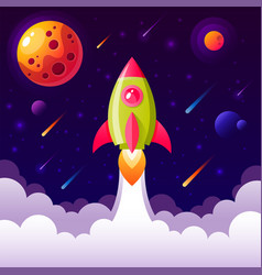 Background with space rocket flying in sky vector