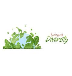 Biological diversity green animal planet banner vector