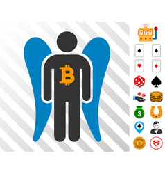 bitcoin angel investor icon with bonus vector image