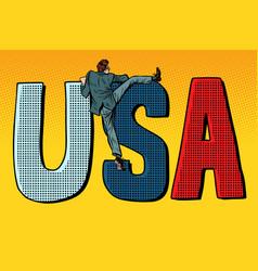 businessman man climbs across the border usa word vector image