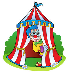 Cartoon clown in circus tent vector