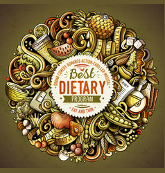 Cartoon doodles diet food vector