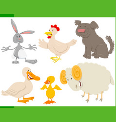 cartoon farm animal characters set vector image