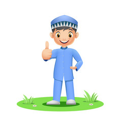 Cartoon muslim boy showing a thumb up vector