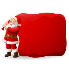 cartoon santa clause pulling a huge bag vector image