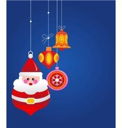 Christmas greeting card with santa and ornaments vector image vector image