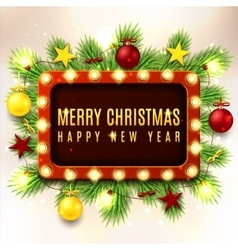 Christmas with red and yellow toys vector image