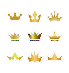 collection of gold crown logo icon element vector image