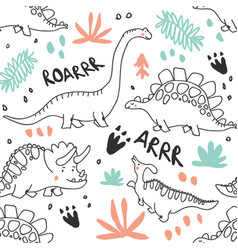 cute dinosaurs and tropic plants seamless pattern vector image