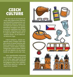 Czech culture symbols and prague landmarks vector