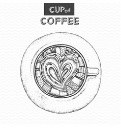 Decorative sketch of cup of coffee or tea vector