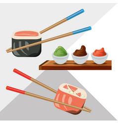 Delicious sushi japanese dish menu restaurant vector