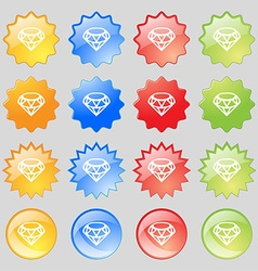 Diamond Icon sign Big set of 16 colorful modern vector image