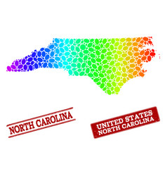 Dotted spectrum map of north carolina state and vector
