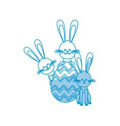 easter rabbits egg decorative celebration vector image