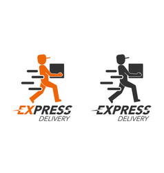 Express delivery icon concept delivery man vector