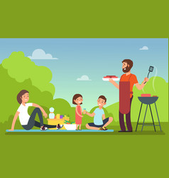 family at summer picnic people in bbq party vector image