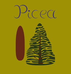 Flat stylish background plant picea vector