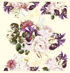 floral seamless pattern with roses and flowers vector image