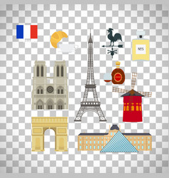 France flag and paris landmarks icons vector