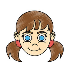 Girl with blue eyes and pigtails happy child icon vector