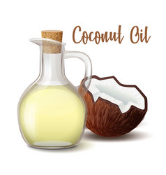 glass jug with coconut oil closed wooden stopper vector image