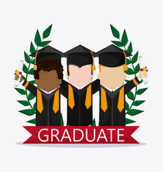 graduation cap boy graduate university icon vector image