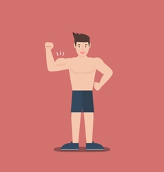 gym fitness muscular cartoon man shirtless flat vector image