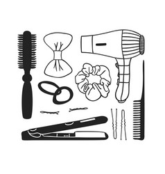 Hand drawn hair tools creative ink vector