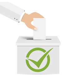 hand putting a voting ballot in a slot of box vector image