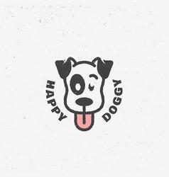 Happy doggy logo vector