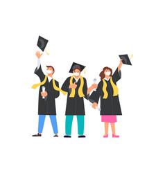 Happy graduates men and woman throws academic vector