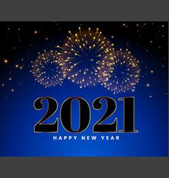 Happy new year 2021 fireworks celebration vector