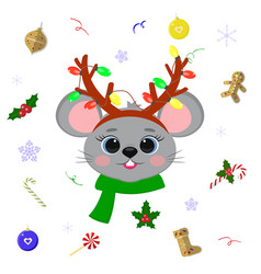 Happy new year and merry christmas cute mice or vector