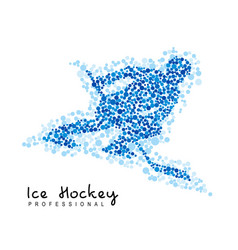hockey player silhouette created from dots vector image