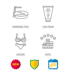 Hotel swimming pool and sun cream icons vector