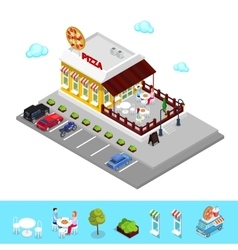 Isometric Pizzeria Restaurant with Parking Zone vector