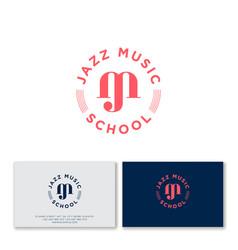 jazz music school logo business card vector image