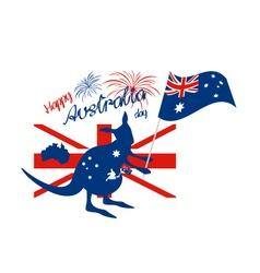 Kangaroo and australia flag with firework vector