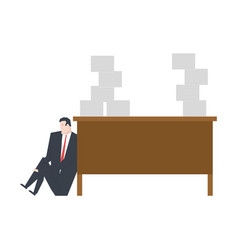 lot of work manager is crying under table big vector image