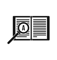 Magnifying glass over open book icon simple style vector image