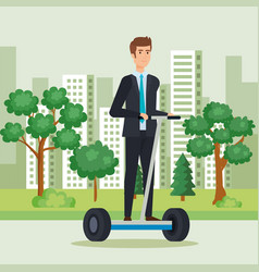 Man riding electric scooter with elegat clothes vector