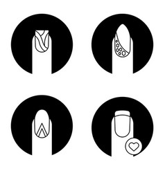 Manicure types glyph icons set vector