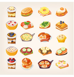 meals and dishes for healthy breakfast vector image