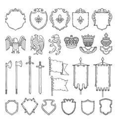 medieval heraldic symbols isolate on white vector image